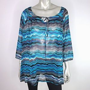 Semi Sheer Womens Striped Blue Top Plus Size 2X